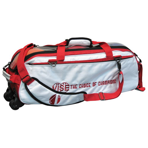 Vise Clear Top Triple Bowling Ball Tote White/Red