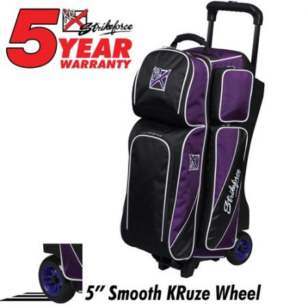 KR Fast Triple Roller Purple/Black, 3 ball triple roller, bag that holds 3 balls, 3 ball bag with retractable handle