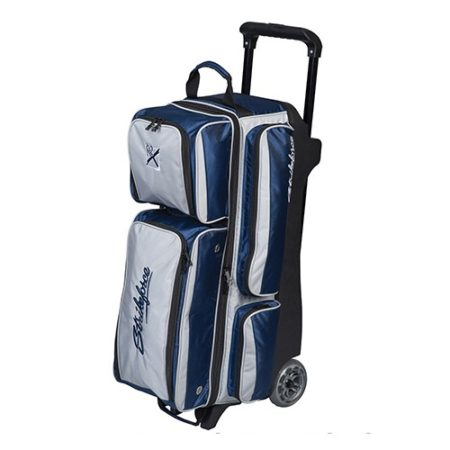 kr konvoy triple bowling roller bag blue silver